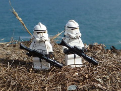 From above the waters. (Working hard for high quality.) Tags: trooper clone lego star wars galactic republic toy minifigure specialist grass mud sea weather sunshine sun plant water blue white