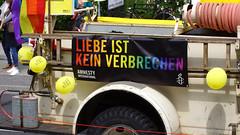 "24. CSD Nordwest 11.000 participants / Gay Pride 2018  / ""Liebe ist kein Verbrechen!"" - ""Love is not a crime!""  / Oldenburg population 165.000 (Lower Saxony / Germany) (tusuwe.groeber) Tags: germany lowersaxony oldenburg deutschland niedersachsen farbig farben colourful colours sony sonyphotographing nex7 bunt regenbogen rainbow gaypride csd nordwest northwest 2018 lesben schwule lesbian gays pride parade christopherstreetday transgender transsexuel streetshot lgbt glbt lsbttiq demo demonstration street strase amnestyinternational"