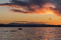 Ducks and Boats and Sun (BobbyFerkovich) Tags: lake washington thebristolapartments sunset clouds water ducks boat fishing sonya7riii