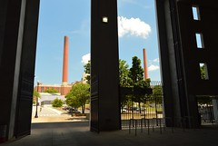 stacks (brown_theo) Tags: ohio stadium steam plant stacks mccracken power service building osu campus university state columbus bicycle summer clouds blue gates