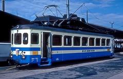 MOB 1001  Montreux  19.09.93 (w. + h. brutzer) Tags: montreux eisenbahn eisenbahnen train trains schweiz switzerland railway triebwagen triebzug triebzüge mob webru analog nikon