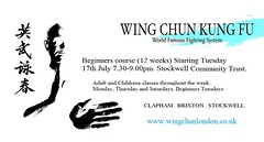 Starting next Tuesday, we will be beginning our fantastic #WingChun #KungFu 12 week beginners course for adults & children. Come down to get some great exercise and learn some invaluable skills. Contact us for more info. #fitness #brixton #stockwell https
