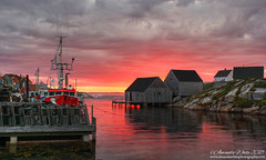 Last Light at Peggy's Cove (sminky_pinky100 (In and Out)) Tags: peggyscove novascotia canada harbour boats fishingcommunity atlantic atlanticprovinces landscape pretty scenic outdoors glow sunset maritimeprovinces maritimes rocks sea fishinghuts lobstertraps travel tourism