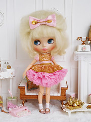 The Royal Spoon (Cossette...) Tags: blythe doll rbl mohair cossette outfit set dress petticoat bow spoon gold rement marx littlehostess sindy barbie ruffles tulle