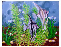 Aquarium 5 (M.P.N.texan) Tags: paint painting art aquarium angelfish platy fish plants acrylic acrylics handpainted original mpn