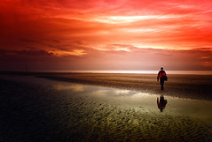 Time to reflect (Missy Jussy) Tags: formby beach beachscape reflection trevorkerr water sea coast sky sunset evening horizon sand man seaside canon 1855mmf3523 canoneos600d