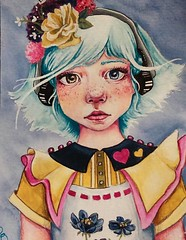 Quirky Children No. 2 (loakes.art) Tags: quirky child children lisaoakesart colorful painting acrylic paper eyes blue yellow girl adorable illustration portrait collar heart ruffle flowers headphones curiousity inquisitive big bigeyes teal hair cutesy love print