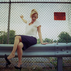 Lindsey on the Fence 2 (neohypofilms) Tags: series skirt dress girl woman retro vintage style 60s legs heels shoes dangle cute sexy 120 film medium format hasselblad color colour photography street city urban industrial fences