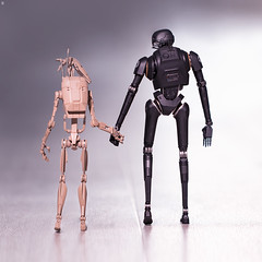 A Helping Hand (Jezbags) Tags: droids battle k2so starwars bandai shfiguarts rogueone toy toys canon canon80d 80d 100mm macro macrophotography macrodreams help hands holding friends love buddies mates