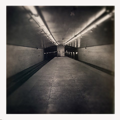 Belmont Blue Line Station (rogerejones) Tags: chicago subway blueline station platform iphone bw cta belmont