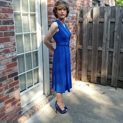 Blue CK Dress Morning Pics (1 of 5) - Thin Waist (s_a_essay) Tags: transgender