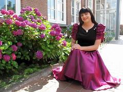 Happy (Paula Satijn) Tags: dress skirt girl lady elegant classy sun sunshine outside gown smile happy joy sweet red burgundy metallic shiny satin silky flowers garden