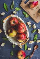 Red apples in a basket (j.nesterova) Tags: food fruit apple red juicy useful vitamin summer vegan basket tree board spoon bayleaf