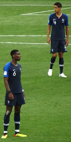 Paul Pogba and Raphael Varane of France in the 2018 World Cup Final