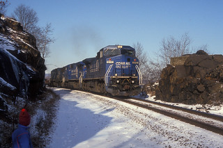 CR C40-8W 6113 and 6129 and SD60 6855 south bound past MP52 in Cornwall NY, Jan 1992