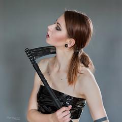 Dance with an unusual partner (piotr_szymanek) Tags: mariola mariolam woman milf ouung skinny portrait studio redhead scythe face piercing tatoo 1k 20f 5k 50f 10k claviclepiercing