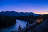 Conjunction over the Continental Divide with Train (Amazing Sky Photography) Tags: conjunction moon venus evening twilight bowriver stormmountain banffnationalpark alberta cpr railroadtracks river hdr acr ruleofthirds composition nightscape waxingmoon crescentmoon train