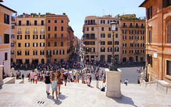 View from the Spanish Steps in Rome (B℮n) Tags: fontanadellabarcaccia scalinataditrinitàdeimonti spaansetrappen obeliscosallustiano spanishsteps piazzadispagna keats–shelleymemorialhouse 138steps roma rome italy italië italia city meeting point roman holiday vacation piazza spagna square sallustiano tourist church french king monti egyptian pope stairs spanish barcaccia fountain steps history boat towers girls women ladies sitting duo boccaccio symbol hotspot centre popular famous dior praha 50faves topf50