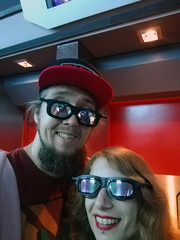 Waiting to board Star Tours (House Of Secrets Incorporated) Tags: france holiday trip îledefrance disneylandparis discoveryland startours selfie 3dglasses selca couple bertvdw hilde