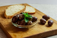 Olives and bread (kyrsos.) Tags: olives food wood bread snack breakfast meal