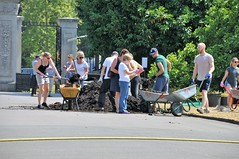Top Grade Shite.... (standhisround) Tags: people gardeners kewgardens kew royalbotanicalgardens rbg gardens trees wheelbarrows compost