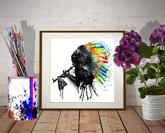 Native American Black Silhouette (marianv2014) Tags: indian indians nativeamerican nativeamericans silhouette silhouettes colorful colourful feathers headdress peacepipe black blue red green yellow splatters splashes drippingpaint sideface profile american watercolor watercolour watercolorpainting whitebackground charming wallart walldecor fineart indiandecor contemporary modernwall squareformat aquarelle artgifts affordableart chief indianposter watercolorposter man smoking