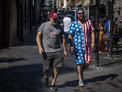 Independence (Leanne Boulton) Tags: people urban street candid portrait streetphotography candidstreetphotography streetlife man men beard face expression mood atmosphere fun happy happiness celebration america usa american starsandstripes independenceday independence onesie red white blue colourful unitedstates tone texture detail depthoffield naturallight outdoor sunlight light shade shadow city scene human life living humanity society culture lifestyle canon canon5d 5dmkiii 70mm ef2470mmf28liiusm color colour glasgow scotland uk