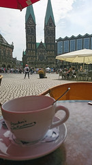 When in Bremen... (stephengg) Tags: hanseatic city bremen freie hansestadt germany free table market square marktplatz cathedral coffee cup red parasol shade