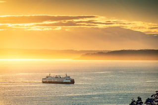 Ferry at Sunset, West Seattle
