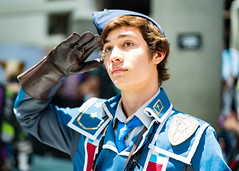 Welkin Gunther (Sometimes Convention) Tags: cosplay costume cosplayer character fantasy video game anime cartoon animation convention indoors natural light daylight day sony alpha a7r3 a7riii human humans subject bokeh 50mm 50 dressup dressing expo ax man male gentleman blue
