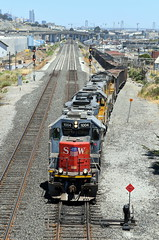 UP YSF70-12 (caltrain927) Tags: union pacific railroad loaded dirty dirt local yard job emd gp60 gp382 ex ssw cotton belt san francisco california ca