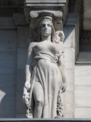 Mysterious Woman Dame Summer Caryatid NYC 5409 (Brechtbug) Tags: mysterious woman dame summer caryatid stone ladies courthouse roof statues across from madison square park new york city atlantid 2018 nyc 07152018 art architecture gargoyle gargoyles statue sculpture sculptures facade figures column columns court house law government building lady women figure form far east buildings season seasons fall