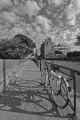 Les ombres de la Petite Reine (Tonton Gilles) Tags: alençon normandie hdr noir et blanc vélo petite reine bicyclette sacoches ombres ciel rue du pont neuf paysage urbain