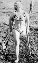 1960s Vintage Amputee 03 (jackcast2015) Tags: handicapped disabled disabledwoman cripledwoman onelegwoman oneleggedwoman monopede amputee legamputee crutches crippledwoman