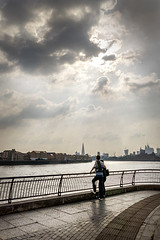 Together (adrians_art) Tags: city london urban uk england river thames water sky clouds rays people theshard thegurkin canarywharf isleofdogs westferry