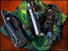 A hot June Wednesday afternoon EDC... (Stormdrane) Tags: paracord stormdrane edc everydaycarry knife flashlight multitool handkerchief pocketsquare green kershaw emerson sunwayman r10r led cr123a lithium battery pocketclip schmuckatellico kiko tiki skull bead pewter oring phillips screwdriver bit prybar bottleopener wrench hex wirestripper gaucho interweave knot lanyard fob wrist wood pocketdump orangepeel reflector high low output mode framelock thumbdisk wave stainless steel titanium ti rubber nylon utility decorative useful micro fiber beprepared hiking trekking travel work survival camping school clickie black flamed