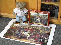 Number 100! (pefkosmad) Tags: jigsaw puzzle hobby leisure pastime complete secondhand used 1000pieces carlevernet riderlesshorseraceinrome sceneofanunmountedhorseraceinrome art painting fineart tedricstudmuffin teddy ted bear animal toy cute cuddly plush fluffy soft stuffed