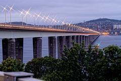 Tay Road Bridge (Geoff Henson) Tags: bridge lights river estuary water city hill trees