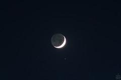 Moon & Aldebaran (α Tau) / @ 300 mm / 2015-04-21 (astrofreak81) Tags: moon luna mond aldebaran αtau konjunktion stars night dark dresden