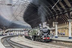 Arrival (4486Merlin) Tags: 35018 britishindialine england europe exsr northyorkshire railways srmerchantnavyclass station steam transport unitedkingdom york gbr scarboroughspaexpress wcrc ecml