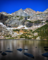 Black Lake (Tony Hochstetler) Tags: nikon d800e nikon2870mmf28 blacklake rockymountainnationalpark nationalpark colorado longexposure le breakthroughphotographyfilter 10stopnd rocks lake mountains horizontal landscape hiking