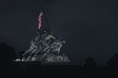 Iwo Jima Memorial, Arlington, Virginia (Duluoz Me) Tags: canon 5d mark ii 2470mm f28l memorial iwo jima usmc marines usa america summer seasons flag stars stripes patriotism monument viriginia arlington washington dc district columbia light darkness bokeh focus depth field night photography soldiers tourist tourism travel landscape composition portrait red white blue war saturation tripod lens foco lenta azul blanco rojo guerra viajes turista fotografía noche luz estrellas bandera cielo sky