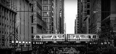 Looking down Washington Street..... (Kevin Povenz Thanks for all the views and comments) Tags: 2017 july kevinpovenz illinios chicago windycity downtown outside outdoors blackandwhite monochrome bw building buildings train street streetphotography city railroad architecture car locomotive canon
