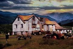 From Iceland. (Tóta. 27.12.1964.) Tags: houses old farm mountain sunset grass iceland ísland