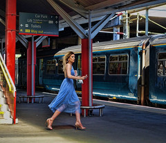 Wait For Me (whosoever2) Tags: crewe cheshire england chester races horse racing girl dress atw class150 june 2018 sony traveller passenger