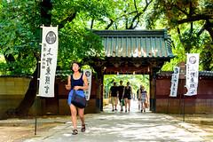 Gate of the Ueno Toshogu Shrine (in Ueno Park) , Tokyo : 上野東照宮にて (Dakiny) Tags: 2018 summer july japan tokyo taito ueno outdoor nature park uenopark city street shrine uenotoshogushrine architecture gate people woman girl nikon d750 nikonafsmicronikkor60mmf28ged afsmicronikkor60mmf28ged