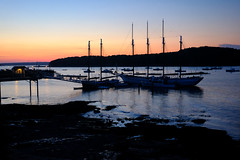 Bar Harbor Sunset in Maine (` Toshio ') Tags: toshio barharbor windjammer tallship maine harbor ship pier sunset usa america water lowtide xt2 fujixt2 island mountain fishingboats lobster boats lobsterboats mast