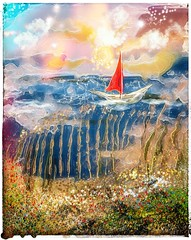 """Red Sail"" (donnacoburn1) Tags: expressionism scenery brushes imagine experimental colours painting drawing image safe public surreal imagination metabrush glaze procreate apple artworks digitalart mobileart donnacoburn art"