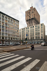 Jun 20, 2018 (pavelkhurlapov) Tags: landmark tower buildings crossing cyclist architecture cityscape sky cloudy road intersection car