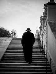 The Man In Black (CoolMcFlash) Tags: person candid man bnw blackandwhite monochrome bw street streetphotography vienna fujifilm x30 silhouette hat mann sw schwarzweis wien kontur hut fotografie photography stairs stufen